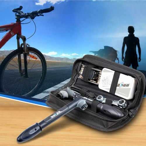 Sahoo biciclette Ciclismo Equitazione Kit Tyre Repair Kit 16 in 1 Multi-Tool Set Kit con la mini pompa portatile