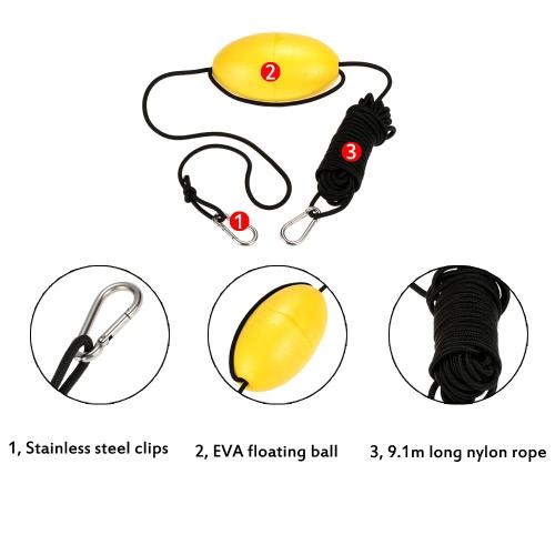 1pc Kayak deriva ancla remolque el remolque línea 9.1m/30 pies largo Nylon cuerda Clips Kayak accesorio de acero inoxidable