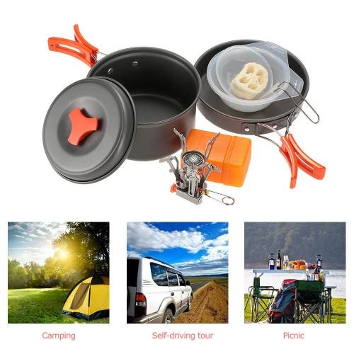 TOMSHOO al aire libre que acampa yendo de utensilios de cocina con mini camping de encendido piezoeléctrico con mochila estufa cocina Olla De Picnic Set Estufa
