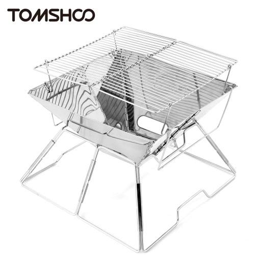 TOMSHOO al aire libre Mini portátil de acero inoxidable montado Parrilla barbacoa Parrilla de carbón