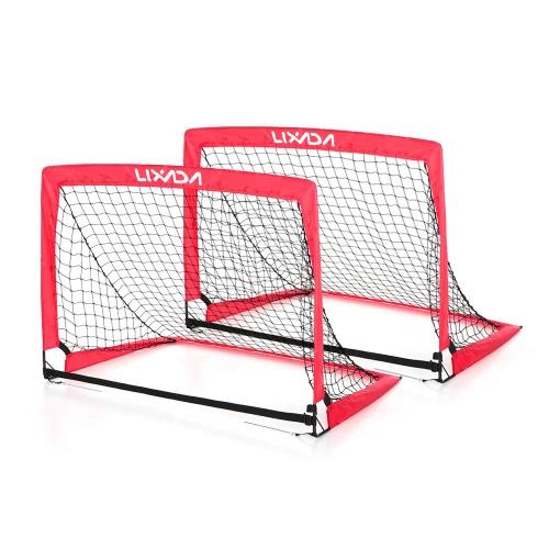Lixada 40 * 30 * 30 pollici Portable Goal pieghevole calcio (2 Gol + 1) Bambino Pop Up Obiettivo di calcio per Allenamento Backyard giochi