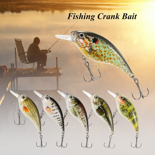 Lixada 8cm/10g Artificial Crankbait Fishing Lure Hard Bait with Treble Hooks Fishing Crank Bait Fishing Tackle