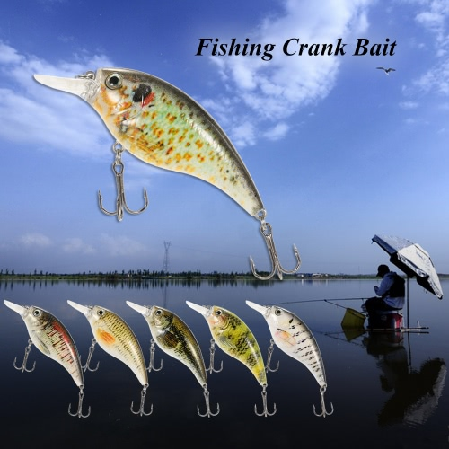 Lixada 9cm/16.4g Artificial Crankbait Fishing Lure Hard Bait with Treble Hooks Fishing Crank Bait Fishing Tackle