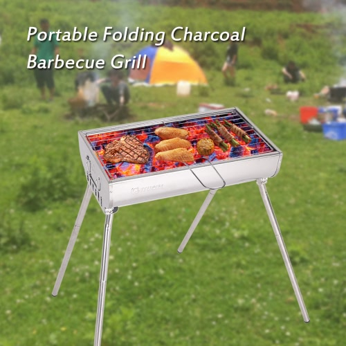 Outdoor Camping Stainless Steel Barbeque Grill Cooking Broiler Garden Charcoal Barbecue BBQ Pinic Grill Set