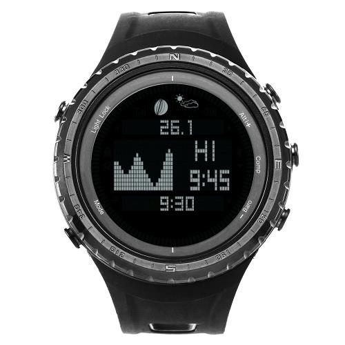 SUNROAD Outdoor Sports Uhr-Multifunktions-Climbing-Digital-Sport-Armbanduhr Mond Graph Gezeitendaten Fischen beobachten Altimeter Barometer Kompass Wettervorhersage 5 ATM wasserdicht
