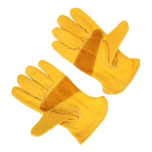 Docooler Preminumグレイン牛革フルレザーワークグローブは耐摩耗性耐久性のあるドライバー手袋園芸手袋を強化パッチパームで