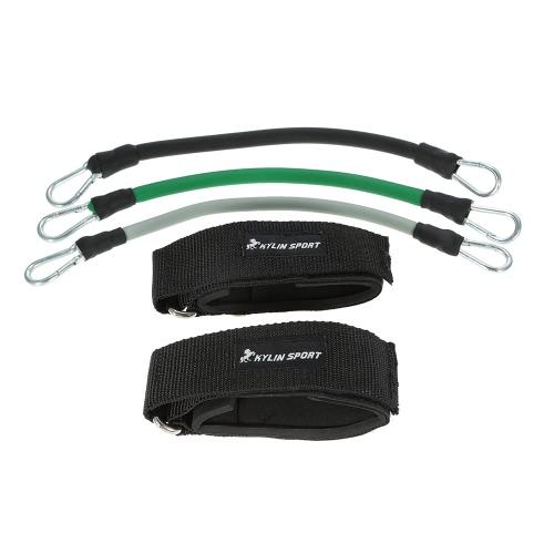 KYLIN DEPORTES Profesional Construcción resistente cuerda de la venda de conjunto de tubo Resistencia Conjunto de Entrenamiento con bandas de cierre de tiras ajustables de formación ejercicio de piernas Tubing Resistencia TPR cuerda bolsa de transporte
