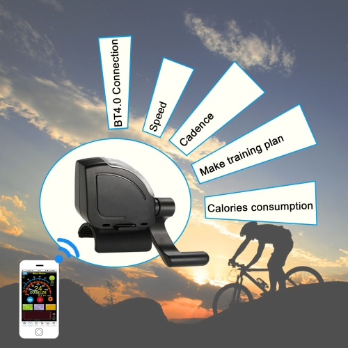 Calorie 3LED Torcia senza fili in bicicletta BT4.0 Smart Speed di formazione traccia di destinazione contachilometri tester della bici Cadence Sensor