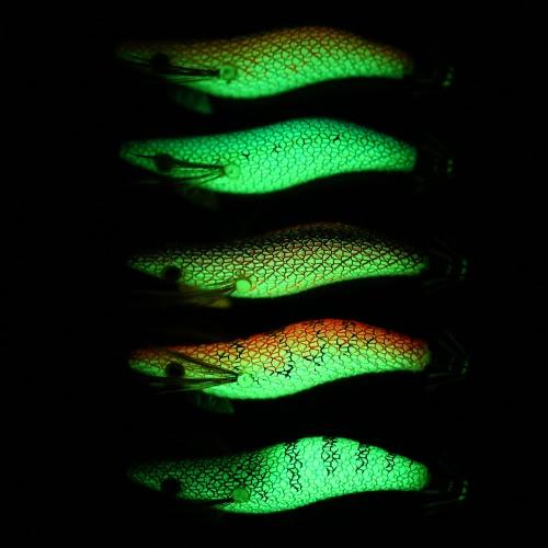 5pcs/set Fishing Bait Set Shrimps Fishing Lures Luminous Plastic Artificial Squid Fishing Baits with Hooks Image