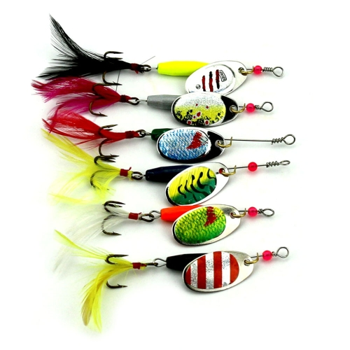 6PCS Fishing Lure Spinners Kit Spinnerbait Metal Spinner Kit per esche con coda di gallo Treble Hook Bass Trota Fishing Lures Lot