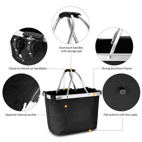 Lixada Bicycle Front Basket Folding Removable Bike Handlebar Basket Pet Cat Dog Carrier Bag Aluminum Frame Top Handles