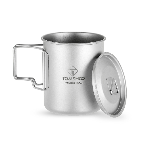TOMSHOO 450ml Titanium Cup Outdoor Portable Camping Picnic Water Cup