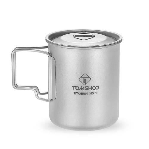 TOMSHOO 450 ml Titan Tasse Outdoor Tragbare Camping Picknick Wasser Tasse Becher mit Deckel Faltbare Griff