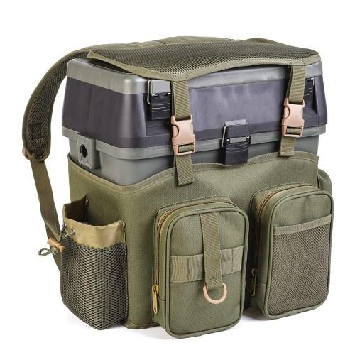 Mochila de pesca multifuncional con caja de aparejos Bolsa de pesca de almacenamiento utilidad utilitario