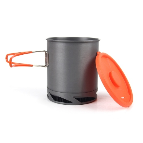 1L Heat Collecting Exchanger Pot Cup Camping Picnic Cooking Pot with Foldable Handle