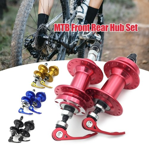 Bike Disc Brake MTB Casette Bearing Hub 36H Front Rear Hub Set with Quick Realse Lever Skewers Axle