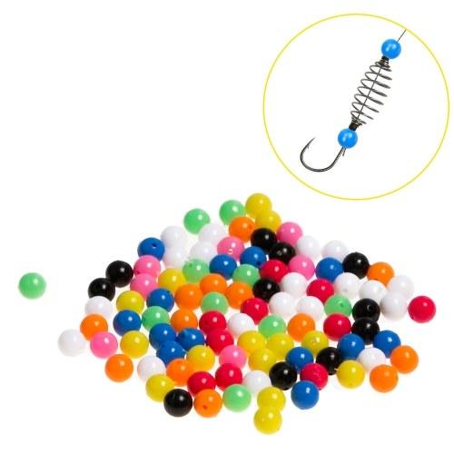 100pcs Fishing Rigging Plastic Beads Round Colorful Fishing Beads