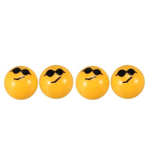 4 Stücke Fahrrad Ball Ventilkappen mit Niedlichen Emoji Muster Luftventilkappen Reifen Ventil Staubabdeckungen