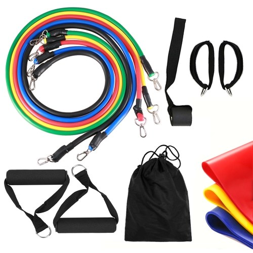 14pcs Resistance Bands Set Workout Fitness Exercise Tube Bands Door Anchor Ankle Straps Cushioned Handles