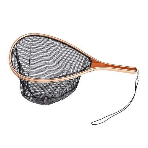 Rede de pouso leve portátil para pesca com mosca com alça de madeira e rede de captura e liberação de peixes