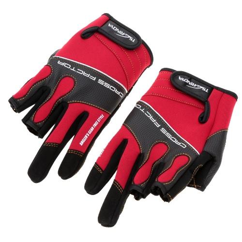 Trulinoya 1 paar Outdoor-Sportarten atmungsaktiv rutschfest 3 Low-Cut Finger Angeln Handschuhe