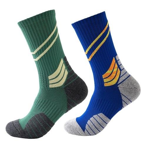 Men Cycling Socks Striped Elastic Breathable Anti-Slip Towel Bottom Running Basketball Sports Stockings Two Pairs Image