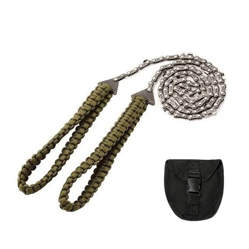 27 Inch 11 Teeth Pocket Chainsaw with Paracord Handle Hand Chain Saw Outdoor Emergency Survival Gear