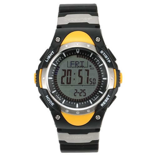 SUNROAD 3ATM wasserdicht Höhenmesser Kompass Stoppuhr Angeln Barometer Pedometer Outdoor Sport Watch Multifunktion