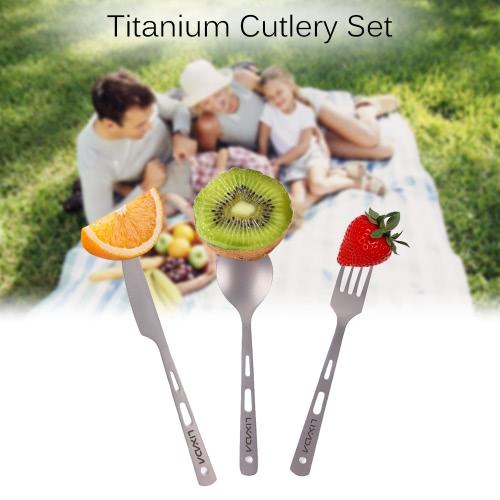 Lixada 3 Stück Besteck Set Titan Outdoor-Camping-Picknick Besteck Löffel Messer und Gabel