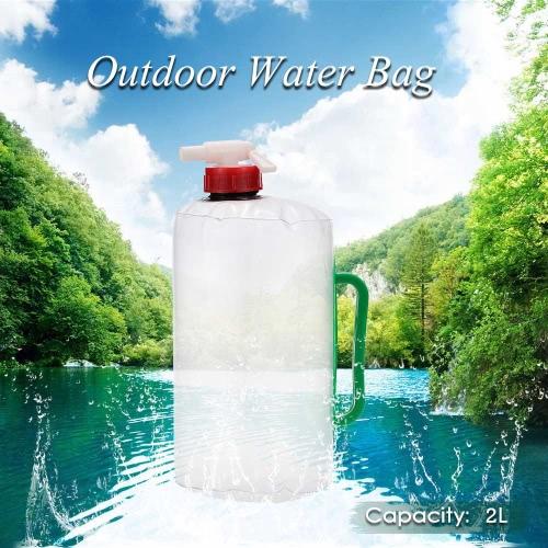 2L acqua esterna pieghevole pieghevole pieghevole trasparente acqua potabile borsa borsa per Campeggio arrampicata Picnic sopravvivenza emergenza