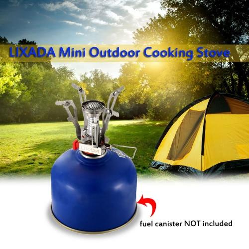 Lixada súper ligero mini bolsillo cocinar al aire libre plegable del quemador estufa de camping gas 3000W