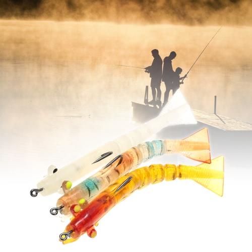 Lixada 3pcs 5 Jionted segmentado señuelo de la pesca del cebo del camarón de la gamba del cebo de pesca noctilucentes Kit luminoso luminiscentes camarón cebo señuelo suave con ganchos
