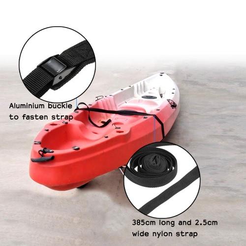 2pcs 3.85m nylon de la atadura correas de sujeción con hebillas de aluminio para kayak y barco del coche correas de sujeción