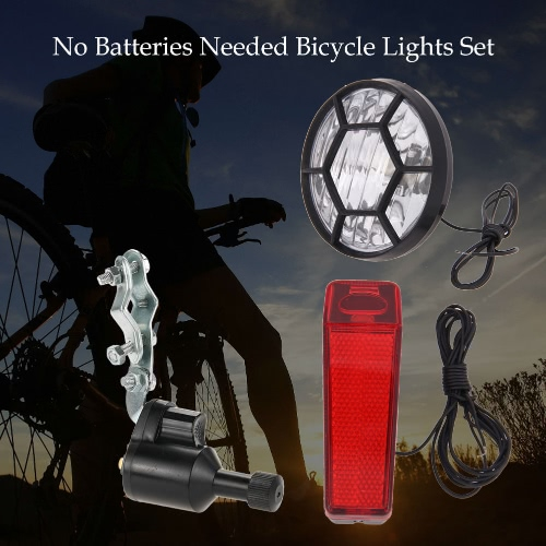 Luci della bicicletta del corredo dell'insieme di sicurezza della bici anteriore fanale posteriore del faro posteriore luce Dynamo Nessun bisogno di batterie