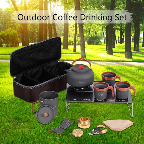 ALOCS Alluminio Camping Accessori mano Coffe Pot Tea Pot Teiera bollitore Coppe alcol stufa Desk Set Kit per Outdoor Cookout Backpacking