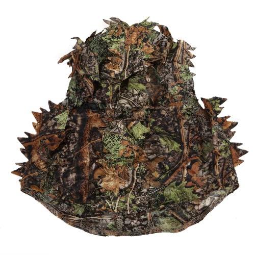 Camouflage foglia di caccia Ghillie Hood a foglia verde testa netto spioncino di apertura e Pattern Foglia