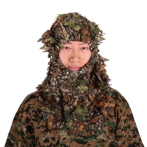 Camouflage Leafy Hunting Ghillie Hood Green Leafy Head Net Eyehole Opening and Leaf Pattern, TOMTOP  - buy with discount