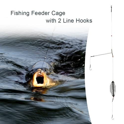 Fischköder locken Käfig mit 2 Line Hooks Carp Feeder-Fischerei-Gerät Zubehör 7cm / 9cm