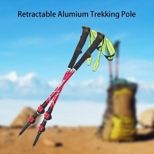 25-53in Trekking polacchi tre sezioni a scomparsa Walking Climbing Stick Ultralight lega di alluminio interno Sistema blocco escursionismo