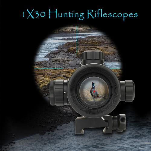 1x30 Tactical Reflex Red Dot Mirino Mirino ottico rapido Stacca Riser Attacco obiettivo di uscita Covers montaggio su guida di caccia Spotting