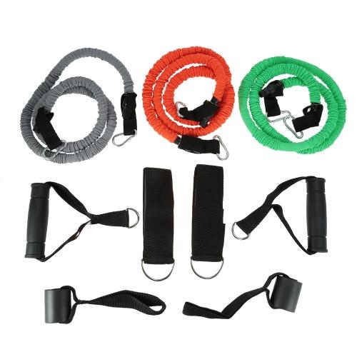 9pcs einstellbarem Widerstand Bands Training Exercise Tubing Berufskrafttraining Set Set mit Tür-Anker-Handgelenk-Knöchel-Bügel-TPR-Widerstand-Band-Seil-Tragetasche
