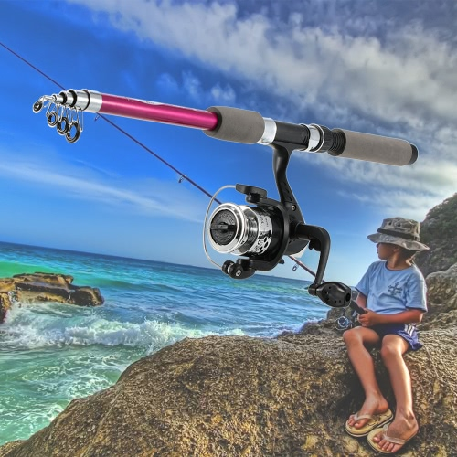 Kinderkinderangelausrüstung Kit Portable Rod Reel-Set mit 1,8 m versenkbare Angelrute Angelrolle Angeltasche