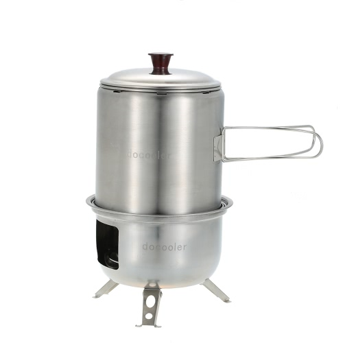 Docooler Portable Stainless Steel Lightweight Wood Stove Solidified Alcohol Stove Outdoor Cooking Picnic BBQ Camping