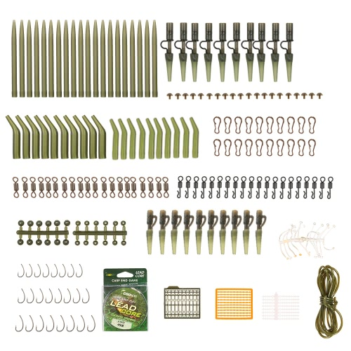 Lixada 202pcs Karpfenfischerei Tackle Kit Kasten Anti Tangle Ärmel Sicherheit Blei Clips Rig Tube Gummi Tubes Rolling Swivels Haken 5m 45lb Lead Core Terminal Rigs Karpfen Angelzubehör Set mit Tackle Box