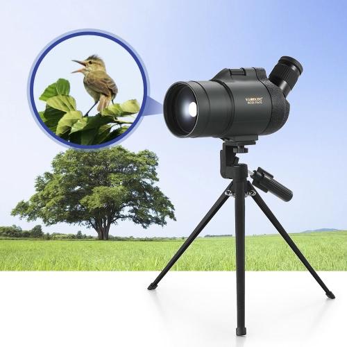 Visionking 25-75x70 Wasserdichtes, fogfestes, gewinkeltes Spotting Scope Bak4 Prisma Monokulares Teleskop mit Stativ Tragetasche für Vogelbeobachtung Reise