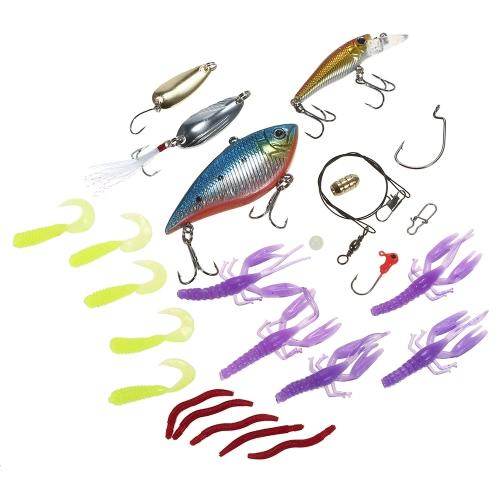 Lixada 26pcs pesca le Baits VIB Spinnerbaits Popper Soft Baits Ganci di pesca Topwater Lures Tackle Box Attrezzi da pesca Lures Kit Kit