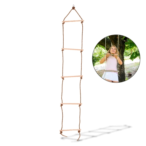 Robusto Indoor Outdoor Corda Scaletta 5 Gradini Scaletta per bambini Parco giochi Yard Toy Gioca Fun Sports Tool