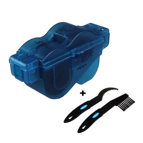 Pulitore per catene da bicicletta portatile con due spazzole in plastica e maniglia in plastica blu