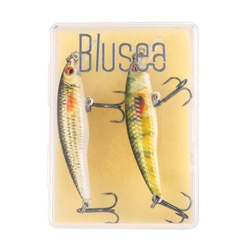 Blusea 2PCS Bionic Hard Fishing Bait Set Realistico Minnow Swimbait Kit Attrezzatura da pesca