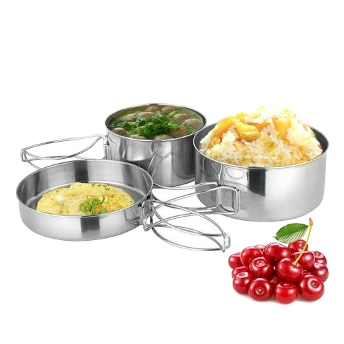 8 PCS Outdoor Pot Set Camping Soup Coffee Water Cups Stainless Steel Cooking Pans Plates Set for 2-3 People